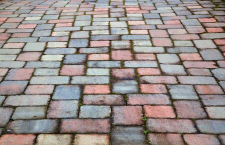 Old red and blue brick paver patio that is not level Banco de Imagens