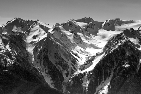 Black and white image of part of Hurrican ridge of the Olympic Mountains photo