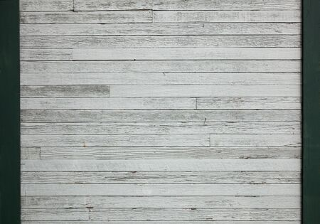 White painted wood wall with green border Banco de Imagens - 9258183