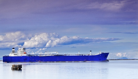 Blue Tanker or Frieghter anchored in the San Juan de Fuca Straits
