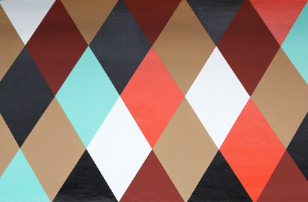 Six colored diamond patterned painted wall Banco de Imagens - 10001463