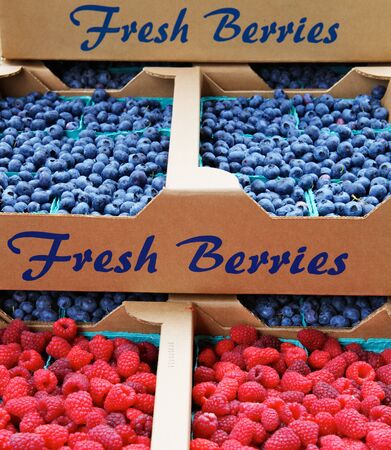 Piles of blueberries and raspberries in cardboard boxes at a farmers market photo