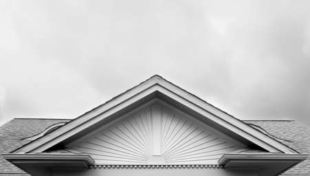Black and white image of Roof facade design of deco sun design  Stok Fotoğraf