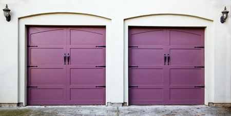 two car garage: Two violet, purple, amethyst, or lavendar garage doors