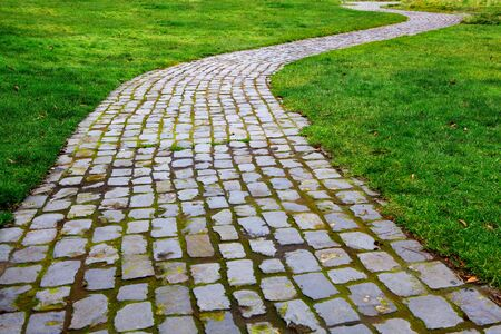 Old worn and broken Curvy Brick Path in grass diminishing in distance