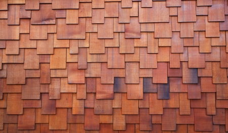 New section of a red shake cedar or redwood roof Banco de Imagens - 13667996