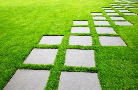 斜めの大きい石造りのペーバーの行緑の草の芝生