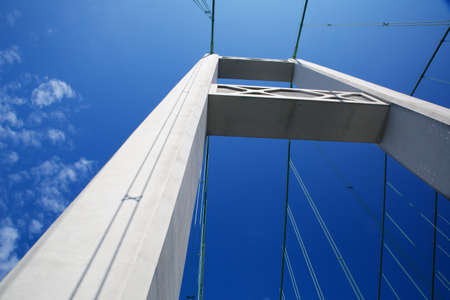 tacoma: One of the Tacoma narrows bridge Towers against a nearly cloudless blue sky