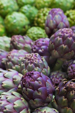 Pile of green and purple Italian Artichokes at the farmers market