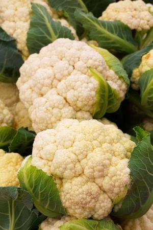 coliflor: Pila de coliflor en el mercado de los agricultores Foto de archivo