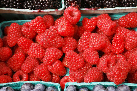 Blue container of a pile of Red Juicy Raspberries at the farmers market photo