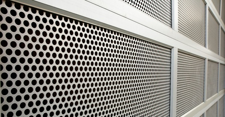 perforated: Perforated Steel Garage Security door on perspective Stock Photo
