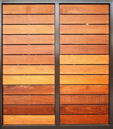 Stained wood framed in steel garage doors vertical Stock Photo - 17593186