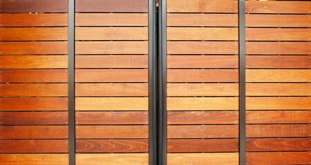 Stained wood framed in steel garage doors horizontal Stock Photo - 17593168