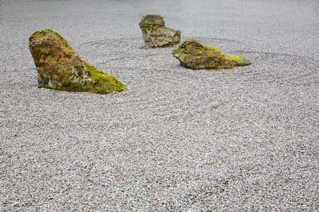 Moss covered Zen Rock Garden with three rocks photo