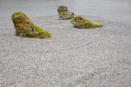 Moss covered Zen Rock Garden with three rocks Banco de Imagens - 22426998
