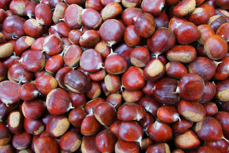 Pile of Chestnuts at the farmers market Banco de Imagens