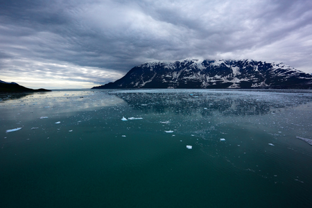 Ice field and dark clouds on return from Hubbard Glacier