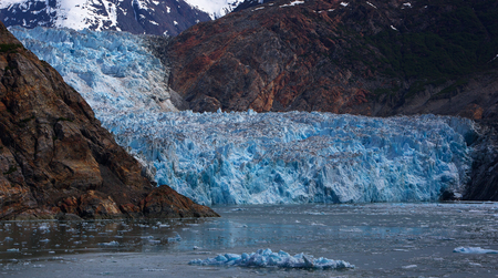 sawyer: Beautiful blue Sawyer Glacier at the end of Turnagain Arm Alaska