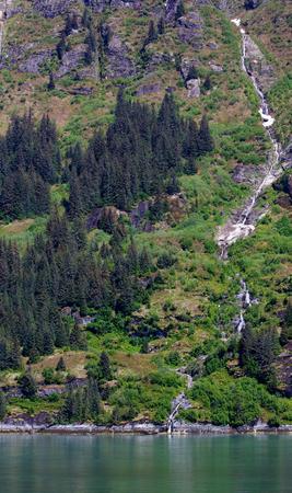 Long creek waterfall into Alaskan Turnagain arm Banco de Imagens - 29987857