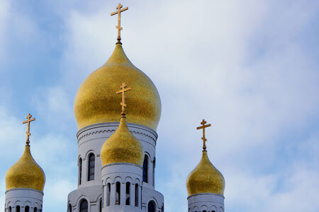 Gold Onion Domes of Russian Church in Alaska