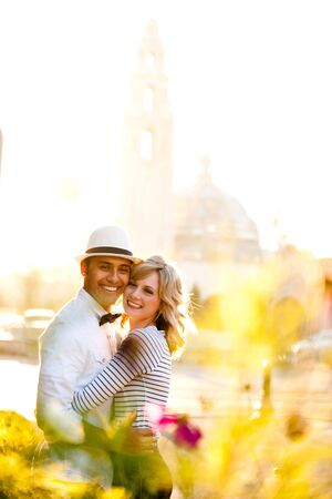 a cute couple in a park Stock Photo - 8138750