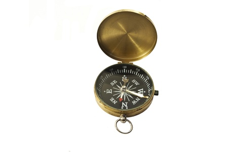 Brass Cased Pocket Compass Isolated on White Stock Photo - 10656205