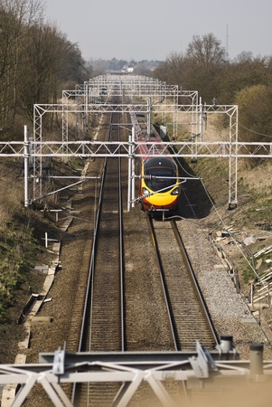 Train heading south on the West Coast Main Line in England