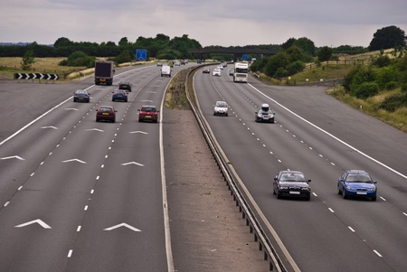 View of a motorway showing the safety vehicle spacing chevron markers