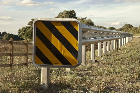Safety Barrier at the side of a new road Stock Photo