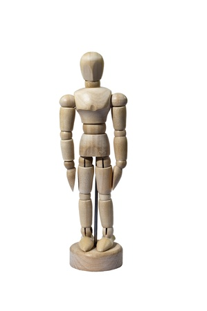 Miniature Artist Wooden Model Standing at Attention Isolated on White photo