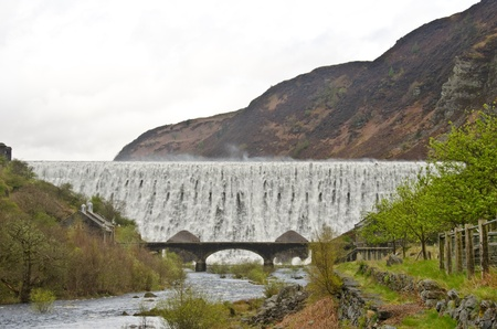 Caban Coch Dam in the heart of the Welsh Cambrian Mountains Stock Photo