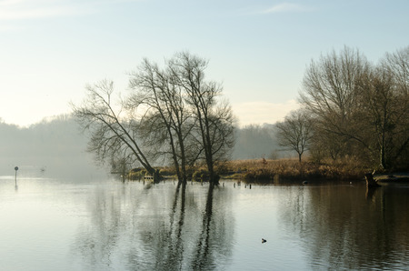 View over a lake through the thinning morning mist