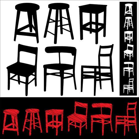 sgabelli: Set di icone astratte sedie e sgabelli.