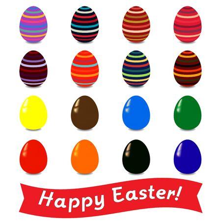congratulatory: Set of colored Easter eggs with a congratulatory banner.