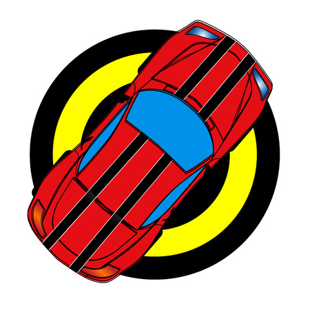 autosport: A red sports car with black stripes. View from the top. Illustration