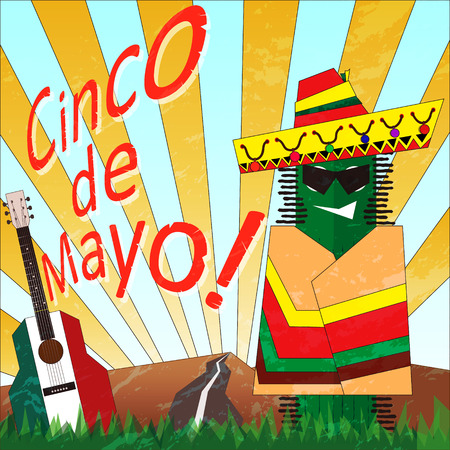 poncho: Poster with cartoon cactus in a poncho. Cinco de Mayo.