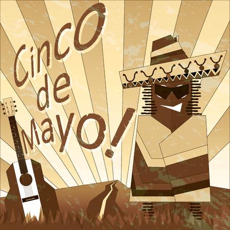 poncho: Cartel con cactus de la historieta en un poncho. Cinco de Mayo. Sepia. Vectores