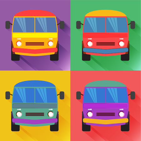 Set of colored minivan in the flat style. Illustration