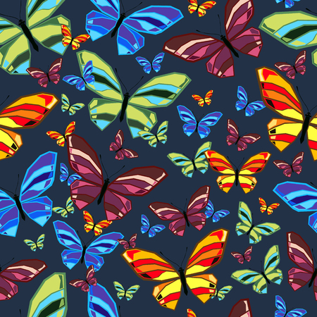 Seamless pattern of butterflies. Colored vector illustration.