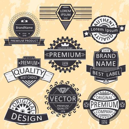 logotypes: Vintage insignias, logotypes set. Vector design, grunge background.