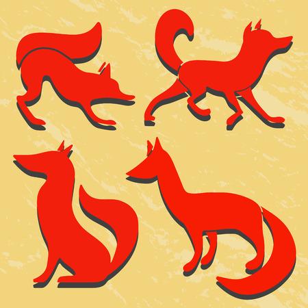 zorro: Conjunto de siluetas de zorros rojos. Grunge fondo. Vectores