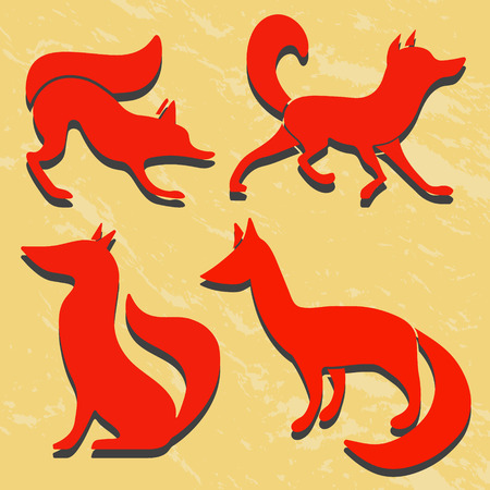 foxy: Set of red fox silhouettes. Grunge background.