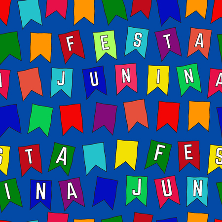 Seamless Pattern with Colored Flags. Festa Junina Party. 向量圖像