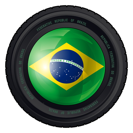 federative republic of brazil: Camera Lens with Federative Republic of Brazil Flag. Vector design.