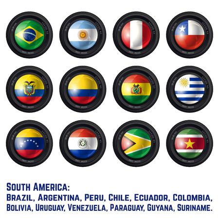 republic of ecuador: Set of Camera Lens with South American Flags. Vector design.