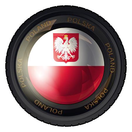 polish flag: Camera Lens with Polish Flag and Eagle. Vector design.