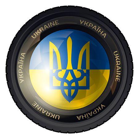 Camera Lens with Ukarainian Flag and Trident. Vector design.