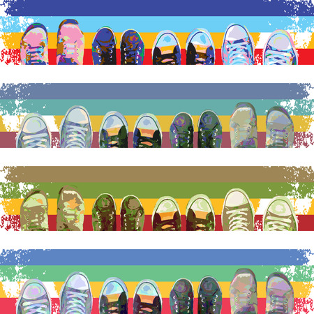 Abstract cartoon sneakers on colored stripes. Top view. Vector design. Иллюстрация