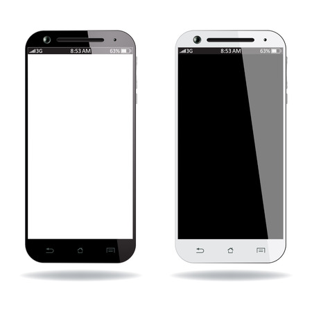 Realistic black and white smartphones on white background. Vector design. Vectores